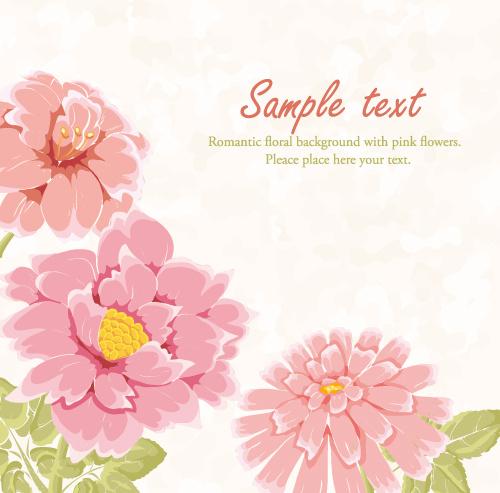 hand drawn pink flower background vector