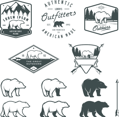 Hand Drawn Polar Bear Logos Vector Free Vector In