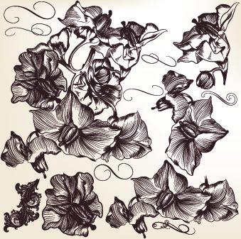 hand drawn retro floral art vector