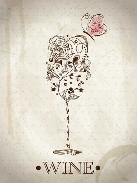 hand drawn retro flower decoration background vector