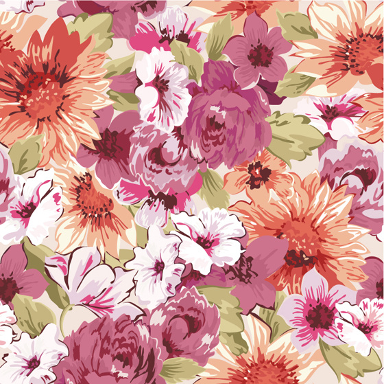 hand drawn retro flower pattern vector