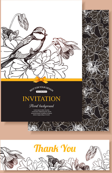 hand drawn retro flower with bird wedding invitations vector