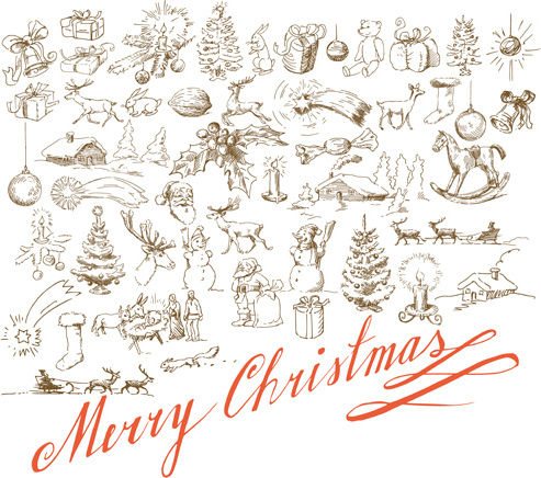 hand drawn retro merry christmas accessories vector art
