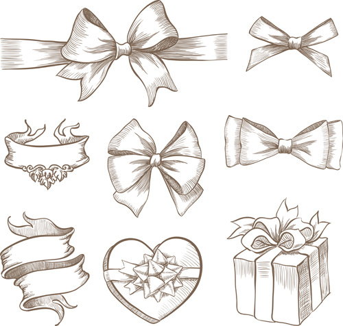 hand drawn ribbon bow and gift boxes vector