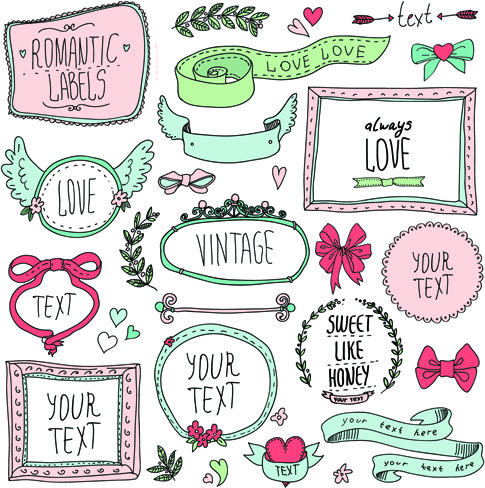 hand drawn romantic frame with ornaments elements vector