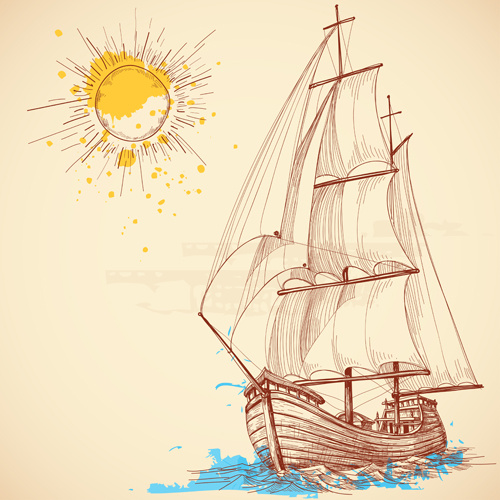 hand drawn sailboat vector