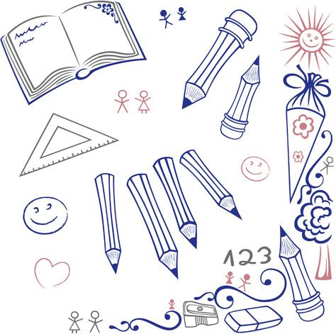 hand drawn school elements vector