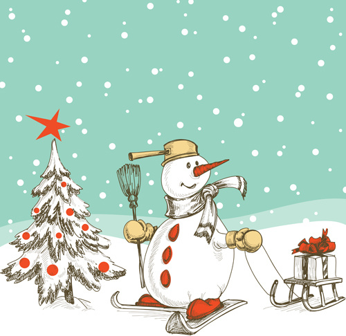 Christmas Background Clipart.Hand Drawn Snowman Christmas Background Vector Free Vector