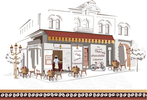 hand drawn street cafe elements vector set
