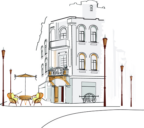 hand drawn town streets design vector set