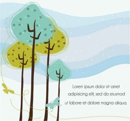hand drawn tree plants background vector