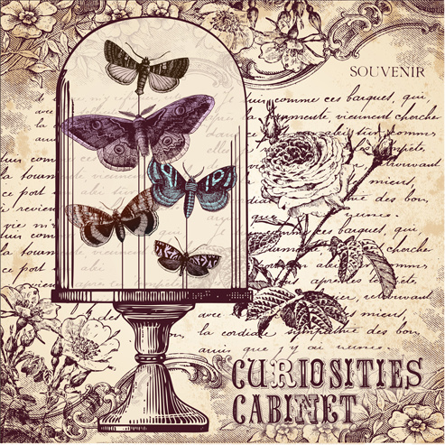 hand drawn vintage butterflies vectors set