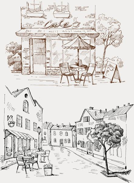 hand drawn vintage cafe vector