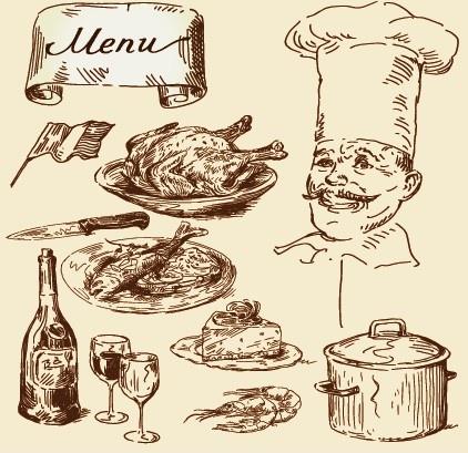 hand drawn vintage food illustrations vector