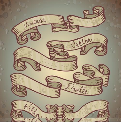 hand drawn vintage ribbon benner vector