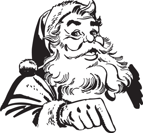 hand drawn vintage santa vector