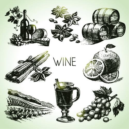 hand drawn wine design vector icons