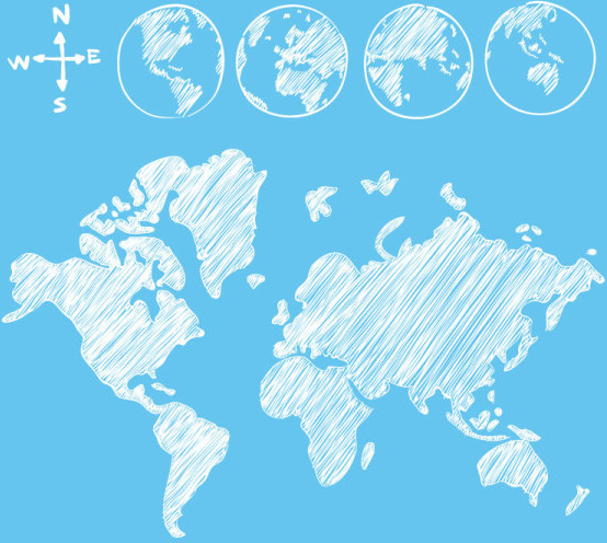 Hand drawn world maps creative vector Free vector in Adobe ...