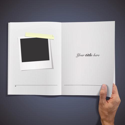 hand opened blank book design vector