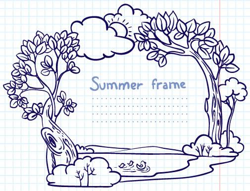 hand painted cartoon frames8 borders vector