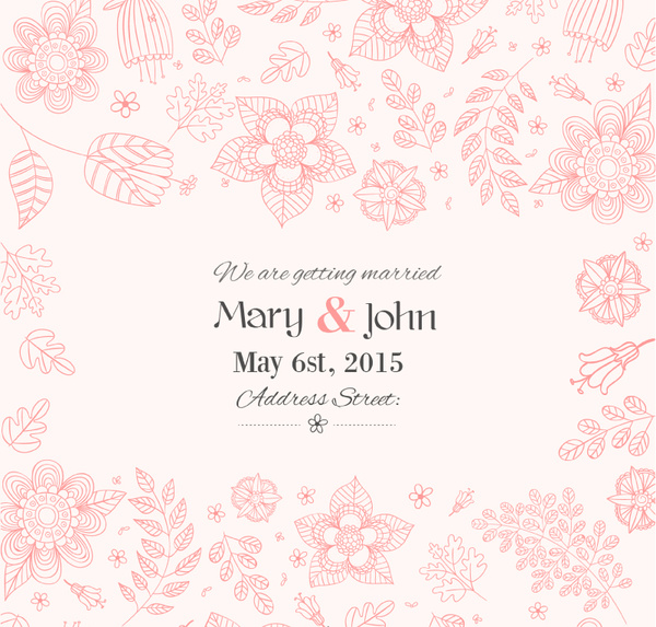 hand painted floral wedding invitation poster vector free vector in