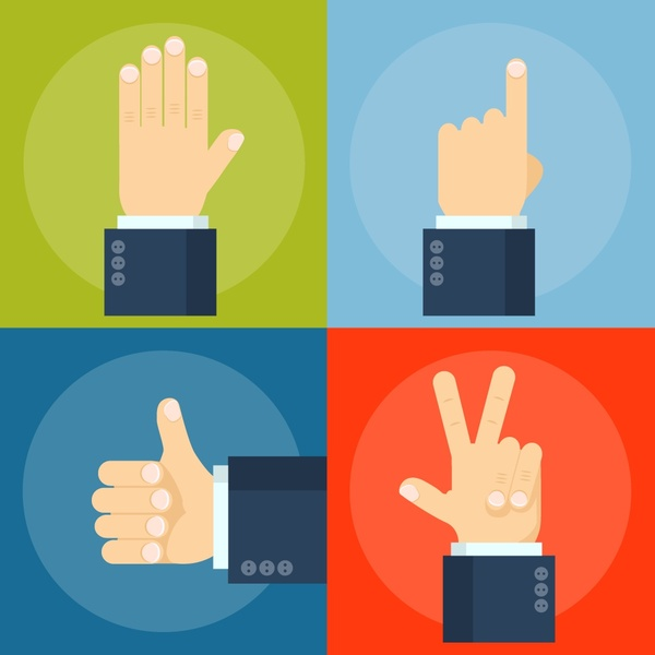 Hand signal concepts illustration with fingers gestures Free