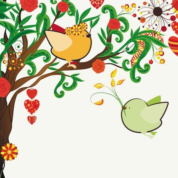 handdrawn illustration love birds 01 vector
