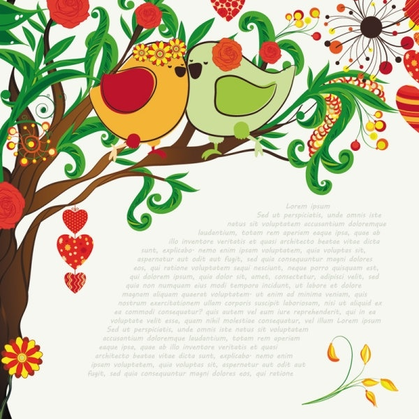 handdrawn illustration love birds 03 vector