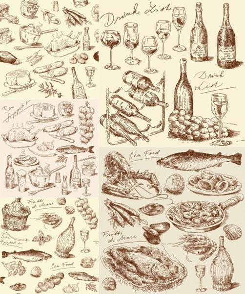 handdrawn line draft kitchen food elements vector