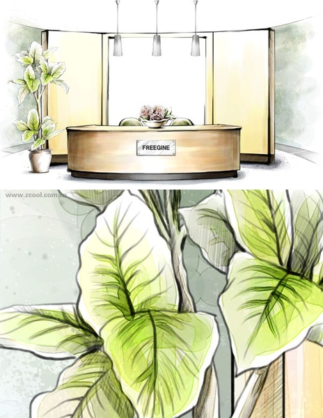 handdrawn style interior decoration psd layered images 10