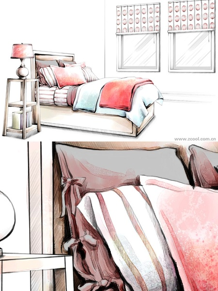 handdrawn style interior decoration psd layered images 14