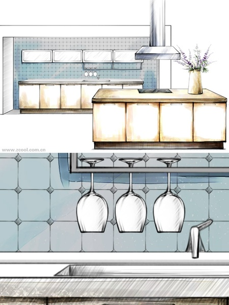 handdrawn style interior decoration psd layered images 18