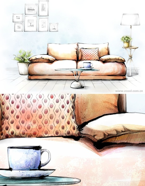 handdrawn style interior decoration psd layered images 1