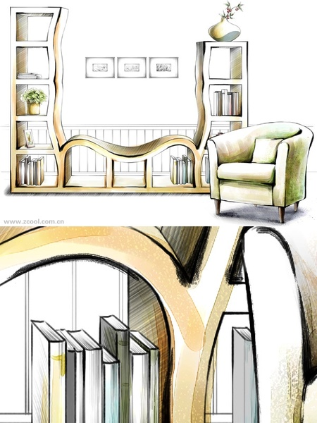 handdrawn style interior decoration psd layered images 21