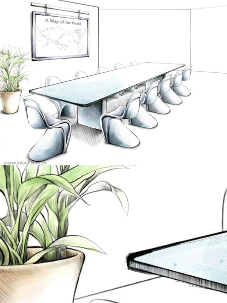 handdrawn style interior decoration psd layered images 23
