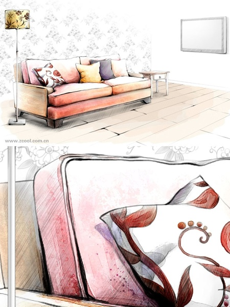 handdrawn style interior decoration psd layered images 2