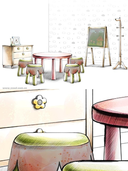 handdrawn style interior decoration psd layered images 30