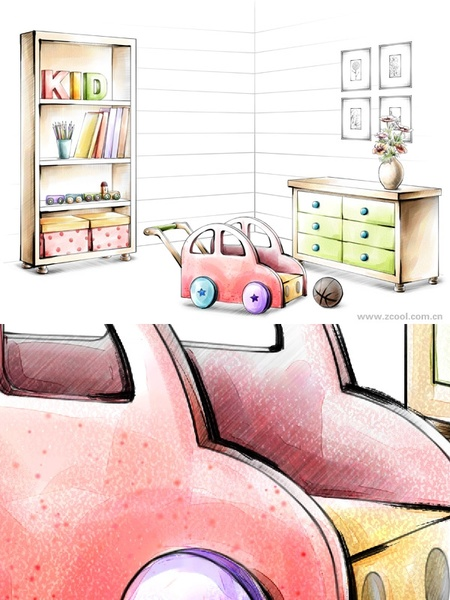 handdrawn style interior decoration psd layered images 32
