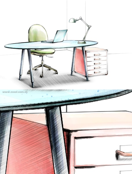 handdrawn style interior decoration psd layered images 36