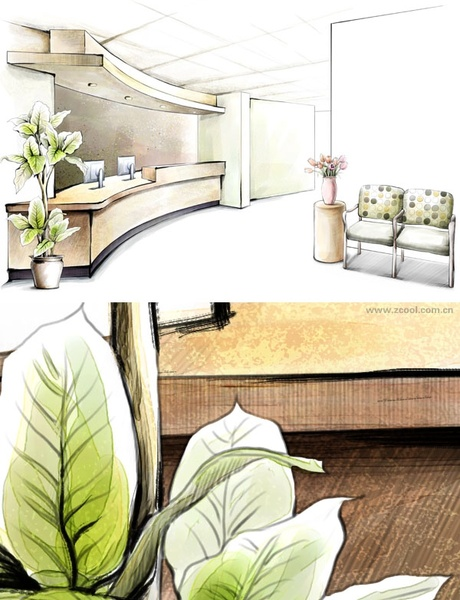 handdrawn style interior decoration psd layered images 9