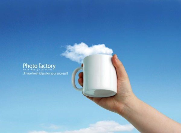 handheld cup creative advertising psd layered