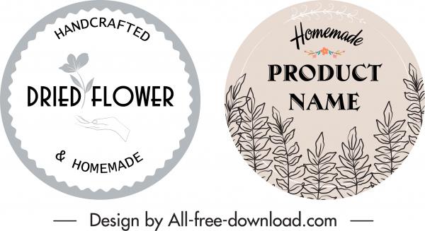 handicraft product labels flat handdrawn retro floral decor