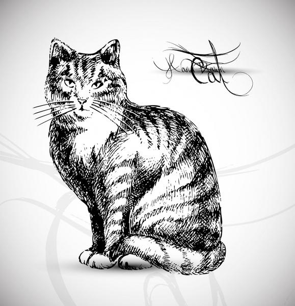 cat painting black white handdrawn sketch