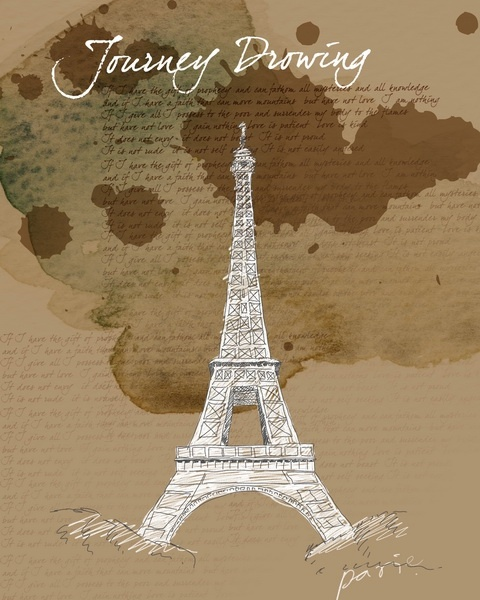 handpainted eiffel tower psd layered