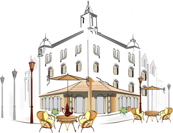 street cafeteria painting elegant european handdrawn sketch