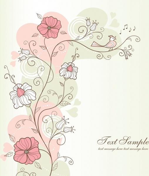 nature painting flora bird decor handdrawn sketch