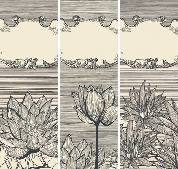 card cover template retro handdrawn petals frame decor