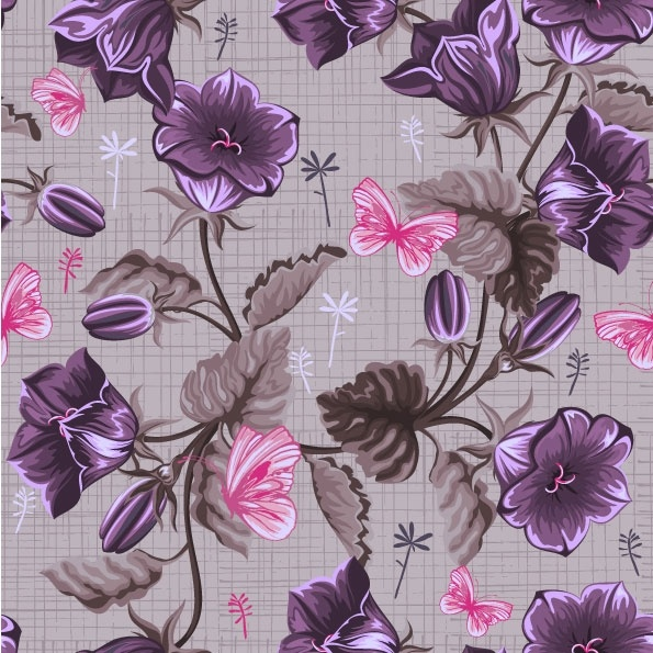 handpainted flowers vector background 1