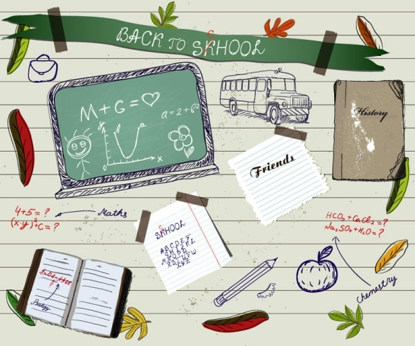 handpainted school supplies 01 vector