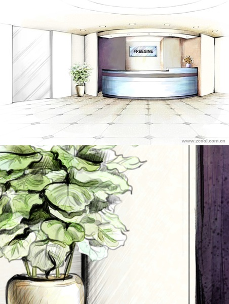 handpainted style interior decoration psd layered images 7